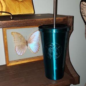 Starbucks Aqua Blue Travel Tumbler W/ Lid & Straw